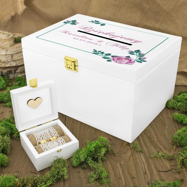 ae0901d7 Pudełko na obrączki i drewniana skrzynka na koperty weselne z nadrukiem