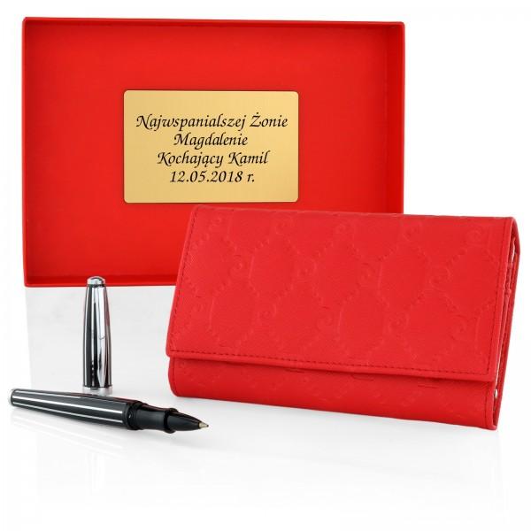 ce2225c502157 Prezent na gwiazdkę skórzany portfel i długopis - czerwony Pierre Cardin