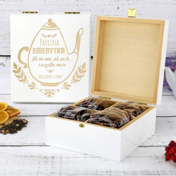 prezent z okazji przejścia na emeryturę pudełko na herbatę z grawerem