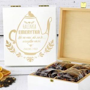 skrzynka na herbatę z personalizacją na prezent dla koleżanki z pracy