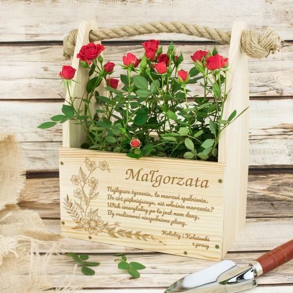 skrzynka na kwiaty z grawerem dedykacji na prezent na emeryturę