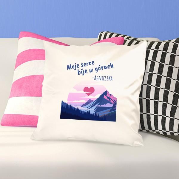 poduszka z nadrukiem dedykacji na prezent dla miłośniczki gór