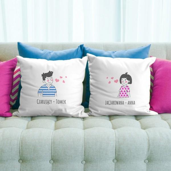 zestaw poduszek z nadrukiem na prezent dla dwojga