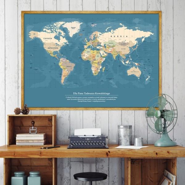 mapa świata na prezent