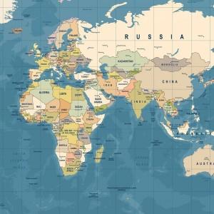 mapa świata w ramie