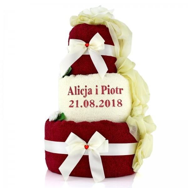 prezent dla pary młodej biało czerwony tort z ręczników z haftem daty i imion Królewski Tort