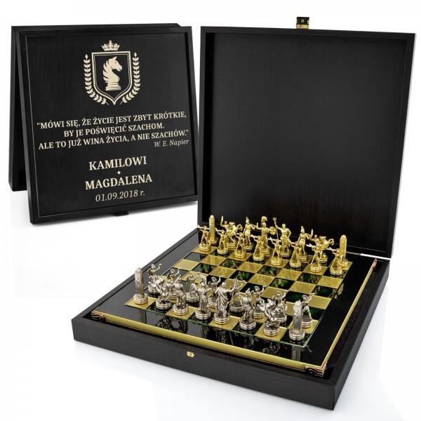 eleganckie szachy na prezent z grawerem Czarny Hetman