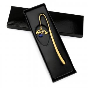 złota zakładka do książki delfin z kryształami z grawerem