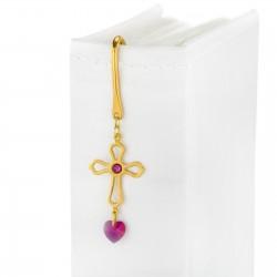 zakładka do książki krzyż z kryształami na prezent dla niej