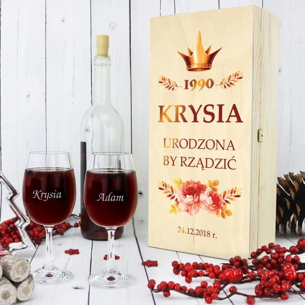 skrzynka na wino z kieliszkami z grawerem urodzona by rządzić