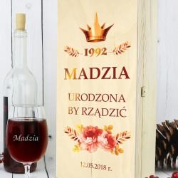 drewniana skrzynka na wino urodzona by rządzić