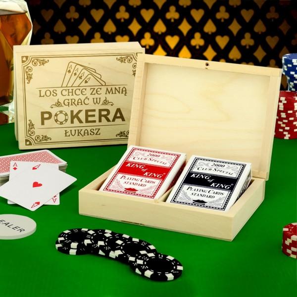 pudełko na karty z grawerem pokerowy los