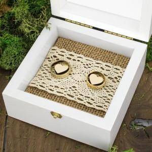 pudełko na obrączki ślubne wianek róż