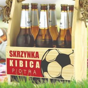 drewniana skrzynka na piwo z nadrukiem skrzynka kibica