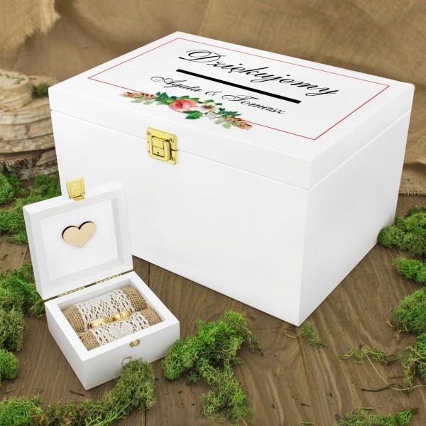 pudełko na obrączki i koperty z kolorowym nadrukiem kwiatowy wianek
