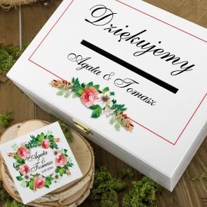 drewniane pudełka na koperty i obrączki z nadrukiem kwiatowy wianek