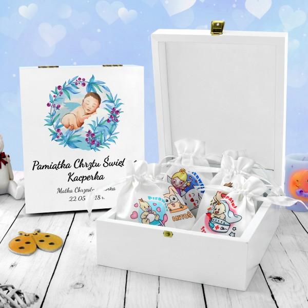 pudełko wspomnień z kolorowym nadrukiem na chrzest niebieski aniołek