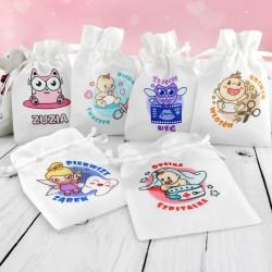 woreczki z kolorowym nadrukiem na prezent dla dziecka