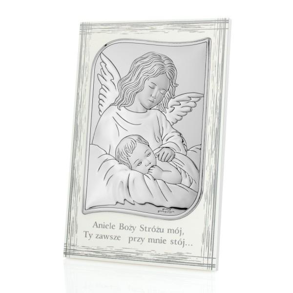 obrazek srebrny na drewnie stróżujący anioł z dedykacją