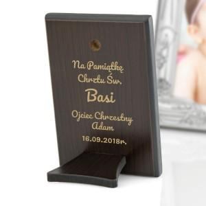 obrazek drewniany z grawerem na prezent na chrzest