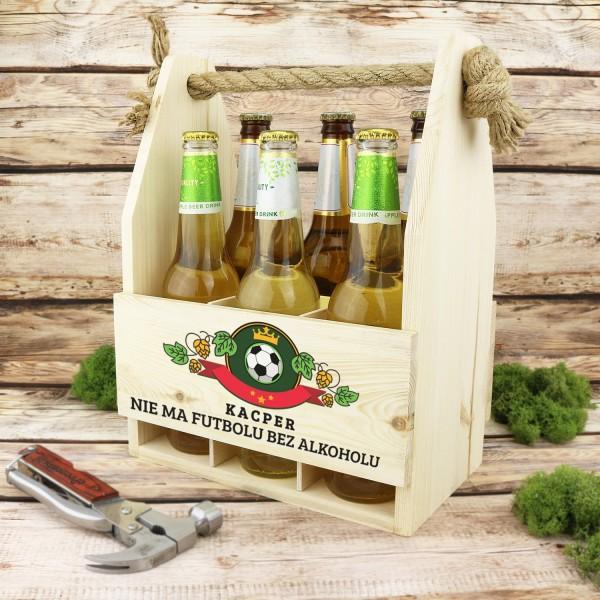 drewniana skrzynka na 6 piw z nadrukiem