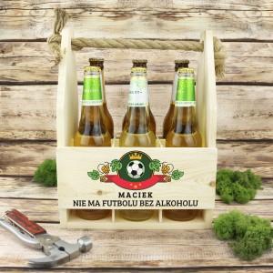 drewniana skrzynka na piwo z dedykacją nie ma futbolu