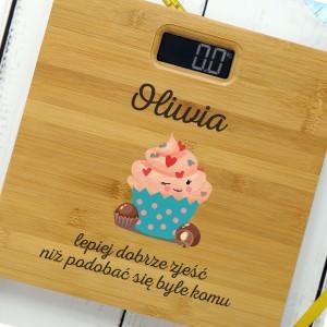 waga łazienkowa z imieniem i dedykacją lepiej dobrze zjeść