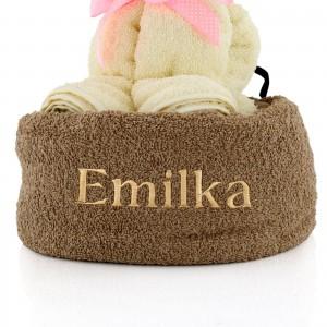 kotek z ręczników z imieniem kitka na prezent dla dziecka