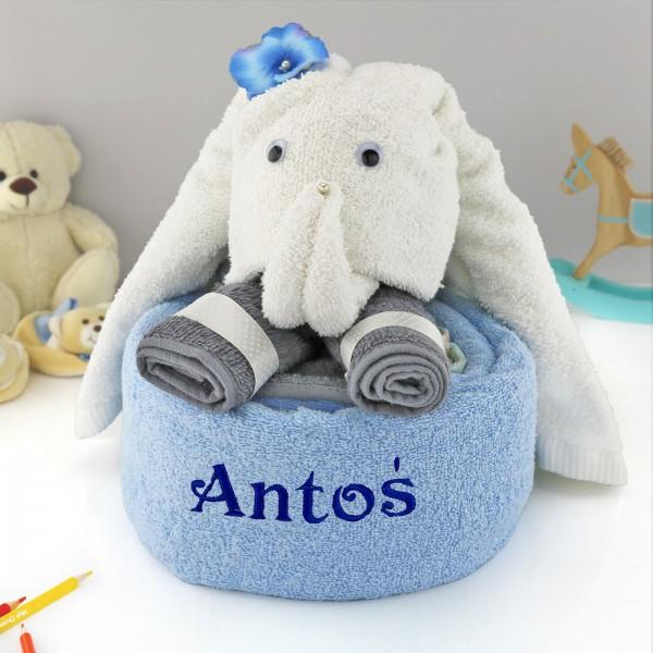 ręczniki z haftem imienia dla dziecka słonik trąbuś