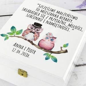 prezent na ślub zestaw herbat w pudełku z personalizacją małżeństwo