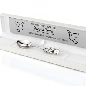 łyżeczka srebrna na chrzest bobas w pudełku z grawerem