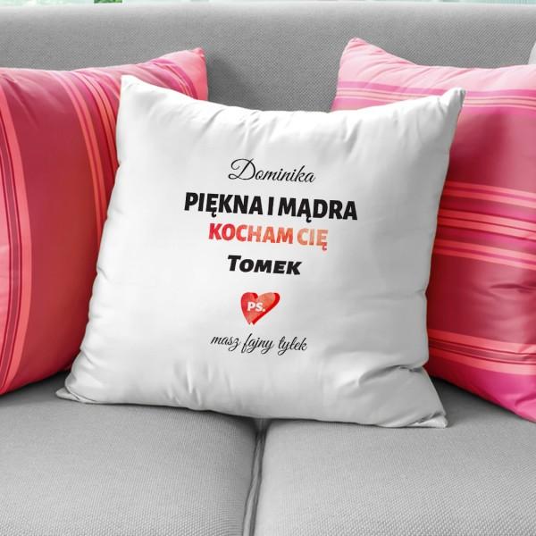 poduszka z personalizacją na prezent dla niej piękna i mądra