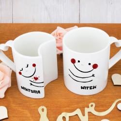 kubki dla małżeństwa z nadrukiem uściski na prezent