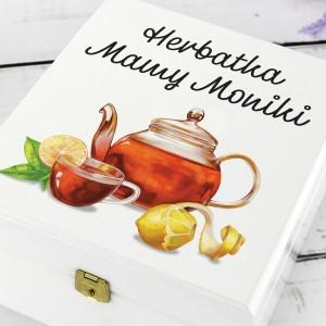 białe pudełko na herbatę z nadrukiem herbatka mamy