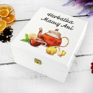 biała skrzynka z nadrukiem personalizacji herbatka mamy