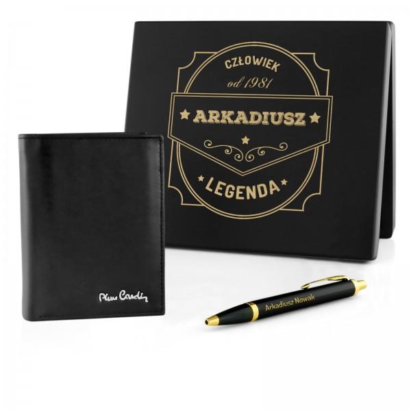 zestaw portfel pierre cardin i długopis parker w pudełku z grawerem człowiek legenda