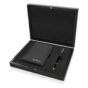 portfel pierre cardin i długopis parker w czarnej skrzynce