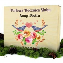 szkatułka z nadrukiem personalizacji na prezent na rocznicę ślubu zakochane ptaki