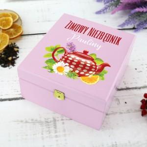 pudełko na herbatę drewniane z dedykacją zimowy niezbędnik