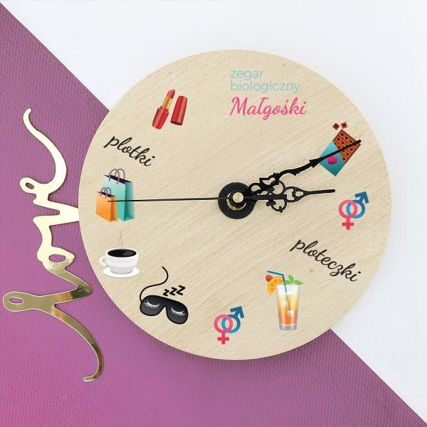 zegar ścienny z dedykacją na prezent dla niej zegar biologiczny