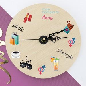 personalizowany zegar ścienny na prezent dla siostry zegar biologiczny