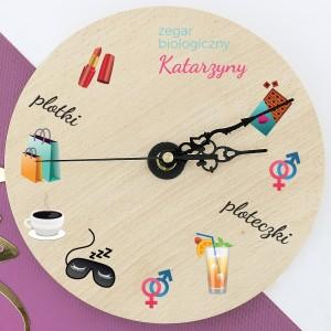 zegar drewniany z nadrukiem na prezent dla dziewczyny zegar biologiczny