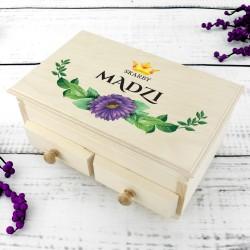 kuferek dla dziewczynki z nadrukiem skrzynka skarbów na prezent