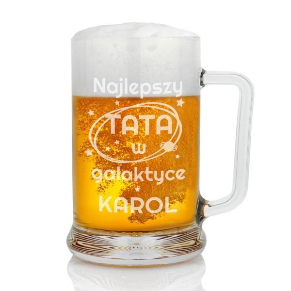 kufel do piwa z grawerem dedykacji galaktyka na prezent dla taty
