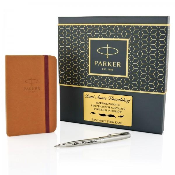 zestaw upominkowy parker notes i długopis z grawerem