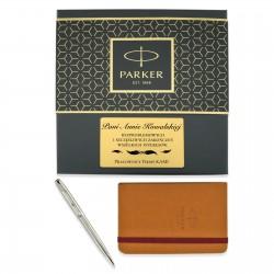 długopis parker silver matt w komplecie z notesem