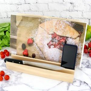 drewniany stojak na książkę kucharską na prezent