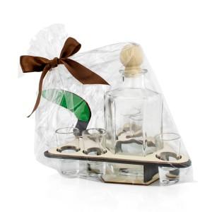 pomysł na prezent szklana karafka z kieliszkami kielnia