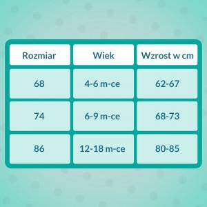 tabela rozmiarów body z własnym nadrukiem