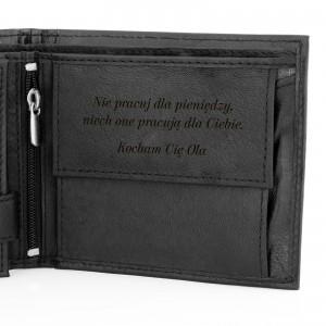 portfel męski z grawerem cavaldi black na prezent dla męża